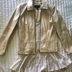 Size small golden beige real leather jacket 🧥 🦄